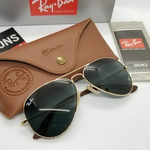 Ray Ban Leathers Aviator @collection golden/gray